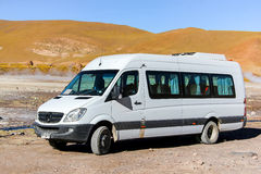 Mercedes-Benz Sprinter. EL TATIO, CHILE - NOVEMBER 16, 2015: Modern minivan Mercedes-Benz Sprinter at the countryside Royalty Free Stock Photography