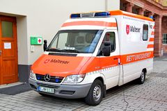 Mercedes-Benz Sprinter. FRANKFURT AM MAIN, GERMANY - SEPTEMBER 15, 2013: Mercedes-Benz Sprinter ambulance car at the city street Stock Photo