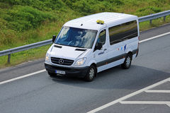 Mercedes-Benz Sprinter Minibus on the Motorway. SALO, FINLAND - AUGUST14, 2015: Mercedes-Benz Sprinter minibus on the Motorway. The first generation of Sprinter Stock Photos