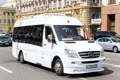Mercedes-Benz Sprinter. MOSCOW, RUSSIA - JUNE 2, 2013: White intercity coach bus Mercedes-Benz Sprinter at the city street Stock Photo