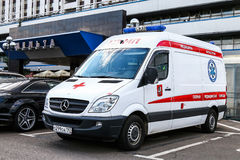 Mercedes-Benz Sprinter. MOSCOW, RUSSIA - SEPTEMBER 2, 2016: Ambulance car Mercedes-Benz Sprinter in the city street Royalty Free Stock Photo
