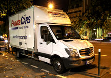 Mercedes-Benz Sprinter. PARIS, FRANCE - AUGUST 8, 2014: White cargo van Mercedes-Benz Sprinter in the city street Stock Photography