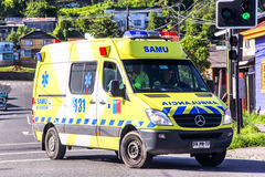 Mercedes-Benz Sprinter. PEURTO MONTT, CHILE - NOVEMBER 21, 2015: Ambulance car Mercedes-Benz Sprinter in the town street Royalty Free Stock Photography