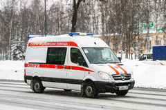 Mercedes-Benz Sprinter. SAINT PETERSBURG, RUSSIA - FEBRUARY 9, 2011: White ambulance car Mercedes-Benz Sprinter in the city street Stock Photos