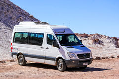 Mercedes-Benz Sprinter. SAN PEDRO DE ATACAMA, CHILE - NOVEMBER 17, 2015: Passenger van Mercedes-Benz Sprinter in the Atacama desert Royalty Free Stock Images