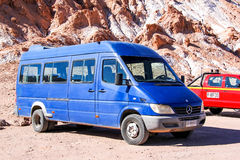 Mercedes-Benz Sprinter. SAN PEDRO DE ATACAMA, CHILE - NOVEMBER 17, 2015: Passenger van Mercedes-Benz Sprinter in the Atacama desert Royalty Free Stock Photography