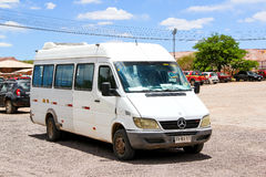 Mercedes-Benz Sprinter. SAN PEDRO DE ATACAMA, CHILE - NOVEMBER 15, 2015: White minibus Mercedes-Benz Sprinter at the town street Stock Photography