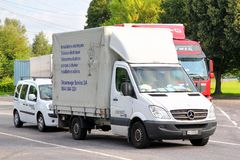 Mercedes-Benz Sprinter. SWITZERLAND - AUGUST 5, 2014: White cargo truck Mercedes-Benz Sprinter at the interurban road Stock Photo