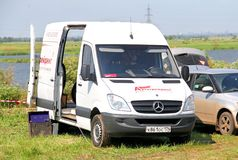 Mercedes-Benz Sprinter. VAHRUSHEVO, RUSSIA - JUNE 28, 2014: White Mercedes-Benz W906 Sprinter cargo van at the countryside Royalty Free Stock Photos