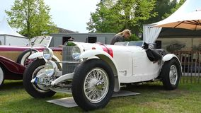 Mercedes Benz SS Rennsport Kompressor vintage 1930s classic car. On display during 2016 Classic Days at Dyck castle in Germany stock video