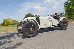 Mercedes-Benz 720 SSKL (1930) in Mille Miglia 2014. The crew Kern - Abaci on a racing car Mercedes-Benz 720 SSKL (1930) in historical rally Mille Miglia, on May Royalty Free Stock Images