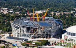 Mercedes Benz Stadium. A view of the construction of the Mercedes Benz Stadium in downtown Atlanta, GA.  The stadium will be the home of the Atlanta Falcons in Royalty Free Stock Image