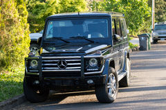 Mercedes Benz SUV. EUGENE, OR - MAY 7, 2017: Mercedes Benz SUV parked on the University of Oregon campus on a sunny morning Royalty Free Stock Image