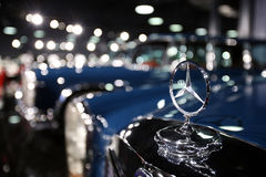 Mercedes-Benz Symbol. Of a retro car is on display in a private collection in Bucharest, Romania stock images