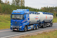Mercedes-Benz Tank Truck on the Road Royalty Free Stock Photo