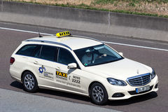 Mercedes Benz Taxi on the highway in Germany Royalty Free Stock Image