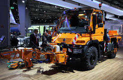 Mercedes Benz Unimog. HANNOVER - SEP 20: New Mercedes Benz Unimog Road Cleaning Truck at the International Motor Show for Commercial Vehicles on September 20 Royalty Free Stock Images