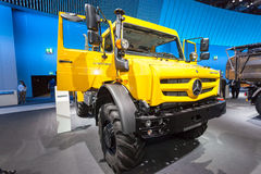 Mercedes Benz Unimog. Hannover, Germany - Sep 23, 2016: Mercedes Benz Unimog 4x4  truck at the Commercial Vehicles Fair IAA 2016  in Hannover, Germany Stock Image