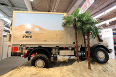 Mercedes Benz Unimog offroad truck. HANNOVER - SEP 20: Mercedes Benz Unimog offroad truck from EMPL Austria at the International Motor Show for Commercial Royalty Free Stock Photography