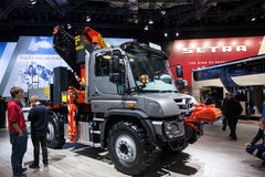Mercedes Benz Unimog. At the 65th IAA Commercial Vehicles 2014 in Hannover, Germany Stock Image