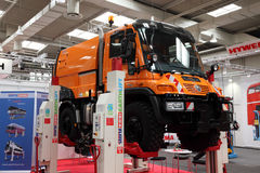 Mercedes Benz Unimog Truck. HANNOVER - SEP 20: New Mercedes Benz Unimog Truck at the International Motor Show for Commercial Vehicles on September 20, 2012 in Stock Photos