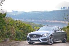 Mercedes-Benz-van de c-Klasse de Aandrijvingsdag Coupé 2016 Test Stock Afbeelding