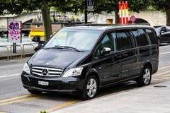 Mercedes-Benz W639 Vito. GENEVA, SWITZERLAND - AUGUST 4, 2014: Black luxury van Mercedes-Benz W639 Vito at the city street Stock Image