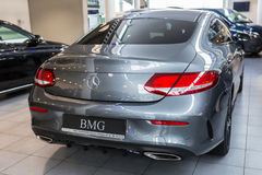 Mercedes C-klasse coupe in the car showroom Royalty Free Stock Image