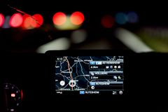Mercedes car navigation at night royalty free stock photo