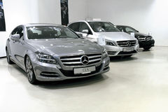 Mercedes car showroom Stock Image