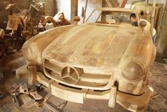 Mercedes car wood craft Royalty Free Stock Photo