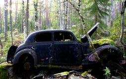 Mercedes 170, coche viejo se fue en el bosque Coche graveyardcar La naturaleza está intentando retirar el área con crecimiento foto de archivo