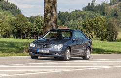 Mercedes driving. On a highway in Austria on a cloudy day. It is an editorial image Royalty Free Stock Photo