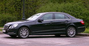Mercedes E-class. Black mercedes E-class car Royalty Free Stock Image