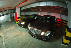 Mercedes E-Class w211 and CLK-Class w209 on underground parking Royalty Free Stock Photos