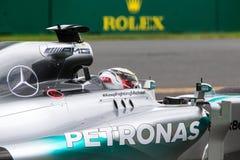 Mercedes F1 en la acción en el Grand Prix australiano Imagen de archivo libre de regalías