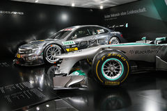 Mercedes F1 W04 and DTM AMG Mercedes C-Coupe Royalty Free Stock Photography
