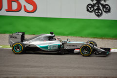 Mercedes F1 W06 Hybrid driven by Lewis Hamilton at Monza Royalty Free Stock Photos