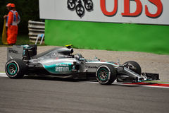 Mercedes F1 W06 Hybrid driven by Nico Rosberg at Monza Royalty Free Stock Photo