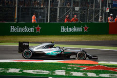 Mercedes Formula 1 at Monza driven by Nico Rosberg. Mercedes AMG Petronas W07 during Friday free practice session of the 2016 Formula One Italian Grand Prix at Stock Photos