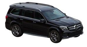 Mercedes-gl Klasse schwarz auf einem transparenten Hintergrund stockbild