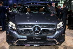 A Mercedes GLC Coupe exhibit at the 2016 New York International. NEW YORK - March 23: A Mercedes GLC Coupe exhibit at the 2016 New York International Auto Show Royalty Free Stock Images