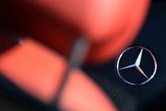 Mercedes logo. Mercedes Benz car logo interior stock photography