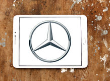 Mercedes logo. Logo of mercedes car brand on samsung tablet royalty free stock images