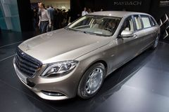 Mercedes-Maybach S 600 Pullman car. GENEVA, SWITZERLAND - MARCH 3, 2015: Mercedes-Maybach S 600 Pullman presented at the 85th International Geneva Motor Show in Royalty Free Stock Photography