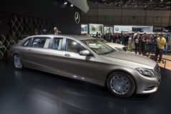 Mercedes-Maybach S 600 Pullman. GENEVA, SWITZERLAND - MARCH 4, 2015: Mercedes-Maybach S 600 Pullman released at the 85th International Geneva Motor Show in royalty free stock images