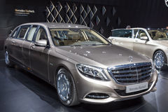2015 Mercedes-Maybach S600 Pullman. Geneva, Switzerland - March 4, 2015: 2015 Mercedes-Maybach S600 Pullman presented on the 85th International Geneva Motor Show Stock Photos