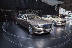 2015 Mercedes-Maybach S600 Pullman. Geneva, Switzerland - March 4, 2015: 2015 Mercedes-Maybach S600 Pullman presented on the 85th International Geneva Motor Show Royalty Free Stock Photography