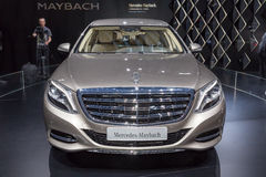 2015 Mercedes-Maybach S600 Pullman. Geneva, Switzerland - March 4, 2015: 2015 Mercedes-Maybach S600 Pullman presented on the 85th International Geneva Motor Show Stock Images