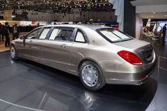 2015 Mercedes-Maybach S600 Pullman. Geneva, Switzerland - March 4, 2015: 2015 Mercedes-Maybach S600 Pullman presented on the 85th International Geneva Motor Show Stock Photo
